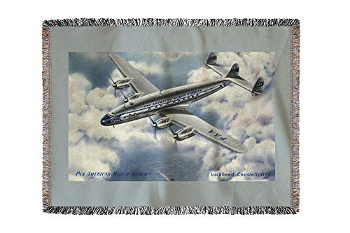 (Lantern Press View of Pan American World Airways Lockheed Constellation Plane - Vintage Halftone 34224 (60x80 Woven Chenille Yarn)