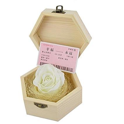 eDealMax Decoración de la Flor Regalo de las Mujeres Caja de Madera Artificial Rose Cuerpo Jabón