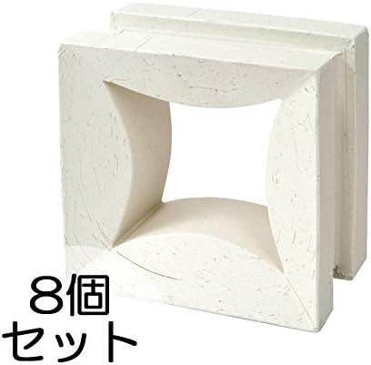 ブロック せっき質無釉ブロック ポーラスブロック150 白土 D(配筋溝あり・4本角溝) 8個セット単位 屋外壁