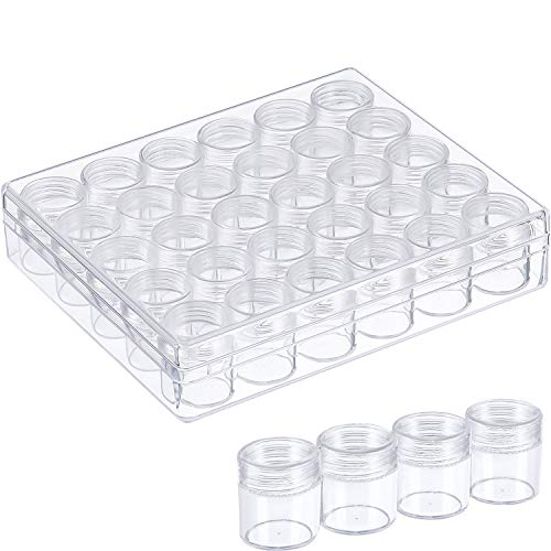 Blulu Clear Plastic Bead Storage Containers Set with 30 Pieces Storage Jars Diamond Painting Accessory Box Transparent Bottles with Lid for DIY Diamond, Nail and Other Small Items (1.15 x 1 Inch) (Bead Plastic Containers)