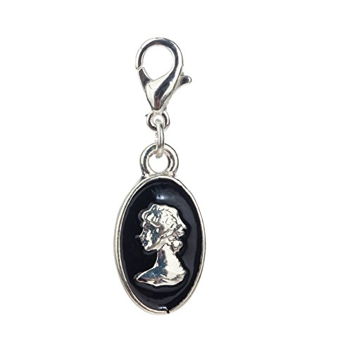 Sophisticated Antique Style Oval Shape Clip On Pendant Charm For Bracelets Bangles With Roman Bust Sculpture Image By VAGA©