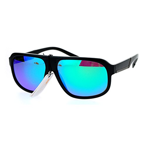 Be One Polarized Lens Mens Sunglasses Flat Top Square Shades Black, Teal - One Be Sunglasses