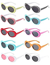 10 Pieces Retro Clout Oval Goggles Mod Thick Frame Kurt Round Lens Sunglasses 10 Colors Women Men Girl Boy Sunglasses