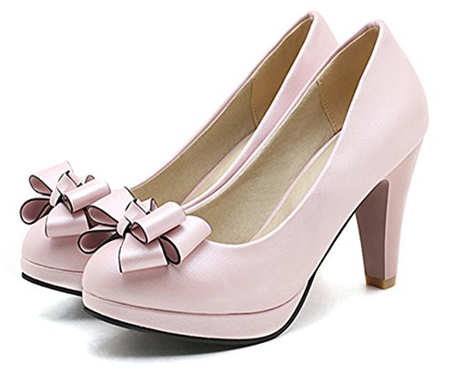 Showhow Mujeres Sweet Bowknot Low Cut Slip On Bombas Zapatos Rosa