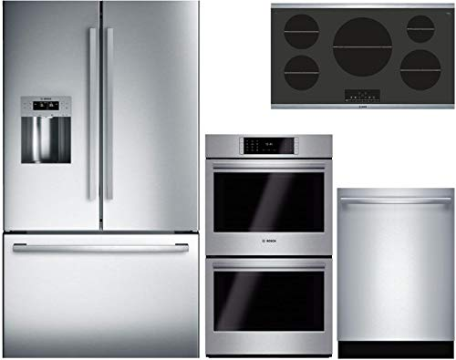 "Bosch 4 Piece Kitchen Package with B26FT50SNS 36"" Fridge, NIT8668SUC 36"" Electric Cooktop, HBLP651UC 30"" Double Wall Oven and SHXM98W75N 24"" Built In Fully Integrated Dishwasher in Stainless Steel"