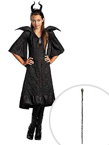Maleficent Costume Kit Kids Medium With Classic Staff