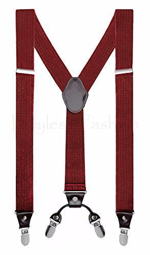 "Buyless Fashion Mens 48"" Elastic Adjustable 1 1/2"" Suspenders In Y Shape - Burgundy"