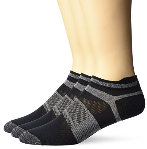 ASICS Quick Lyte Single Tab (3 Pack), Black/Grey Heather, X-Large
