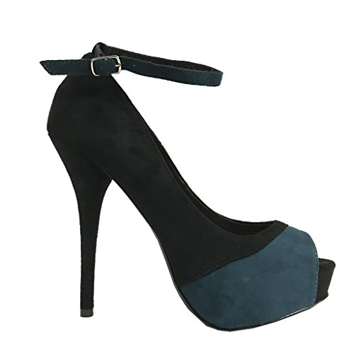 Sail! By Delicious Peep-toe Colorblock Hidden Platform Pumps in Black and Green XXCym