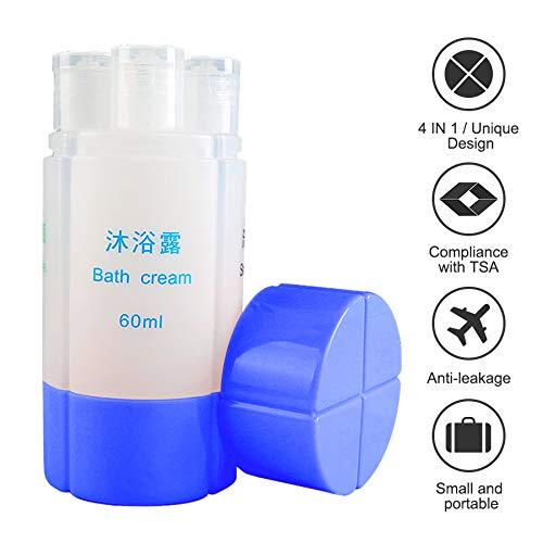4-In-1 Travel Bottle Set TSA Approved, 60ml (2Oz)4 Organized Leak Proof Travel Size Toiletries, Refillable Travel Sets Cosmetic Toiletry Containers for Shampoo Lotion Soap.Travel Accessories (Blue) (Best Places To Visit In Kefalonia)
