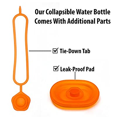 Foldable Collapsible Sports Water Bottle - BPA Free Leak Proof Flip Top Locking Lid, Soccer, Volleyball, Gym, Golf, Athletes, Travel, Kids Water Bottle