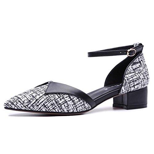couleur Black Des Jingsen Travail Chaussures Pointu Épais 34 Une Coréen Femmes Sauvage De Avec Black Printemps Baotou Seule Creux Femelle Taille aAwqxaT8