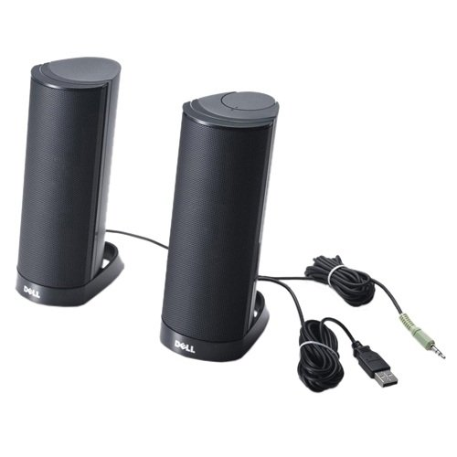 Dell AX210CR Black – 3.5 mm Portable Stereo Speaker with USB...