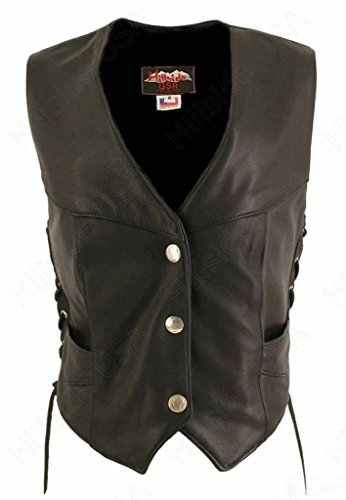 Naked Vest Leather Ladies - Hillside USA Ladies Made in USA Naked Leather Motorcycle Vest Side Laces Mercury Dime Snaps 6XL Tall Black