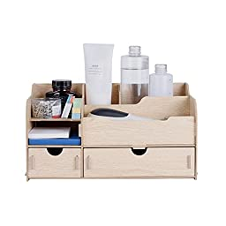 SOGAR Wood Desktop Storage Organizer Cosmetic Storage Box Shelf Cubbies or Office Supply Holder