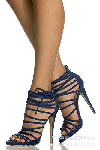 Moda sandalias de tacón alto color puro del pie anillo de la manera sandalias de tacón alto de las sandalias de color Pure Roma Navy Blue