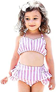 86c150554913 Amazon.com  Moonker Toddler Baby Girls Lace Straps Backless Tops Striped  Shorts Outfits Clothes Sets For 1-4T (Purple