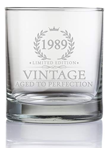 30th Birthday Gifts for Men Turning 30 Years Old - 11 oz. Vintage 1989 Whiskey Glass - Funny Thirtieth Whisky, Bourbon, Scotch Gift Ideas, Party Decorations and Supplies for Him, Husband, Dad, Man for $<!--$15.87-->
