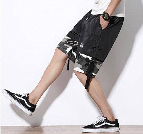 SportsX Mens Multicam Straight-Fit Plus Size Stitch Mid Length Short Grey M by SportsX (Image #1)