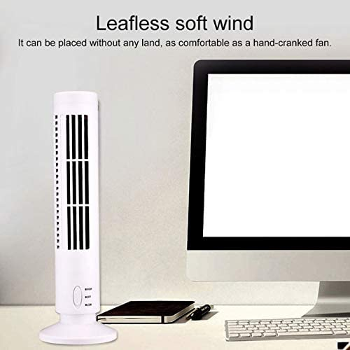 Electric Fans Black PIWIDHSKKAHa USB Fans Tower Type USB Electric Fan Leafless Air-Conditioning Fan Color : White