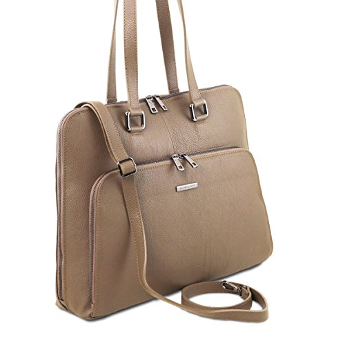 Tuscany Leather - Lucca - Maletín TL SMART en piel suave para mujer - TL141630 (Cognac) Dark Taupe