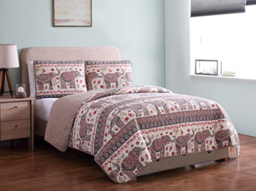 Morgan Home Printed 3 Piece Reversible Quilt Set with Shams - All Season Comfort, Available in, Colors & Sizes (Beige Elephant, King)