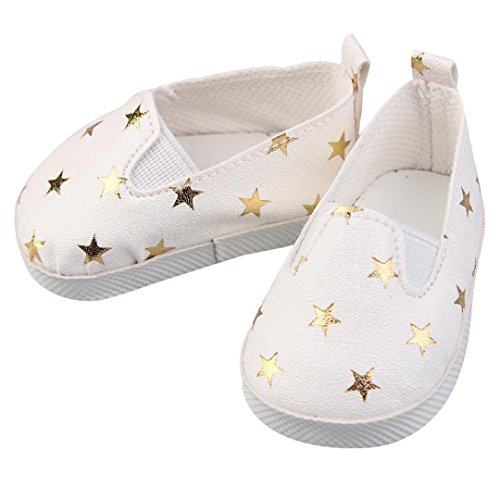 Cute Star Shoes for 18 inch American Girl Doll By Coerni (White)