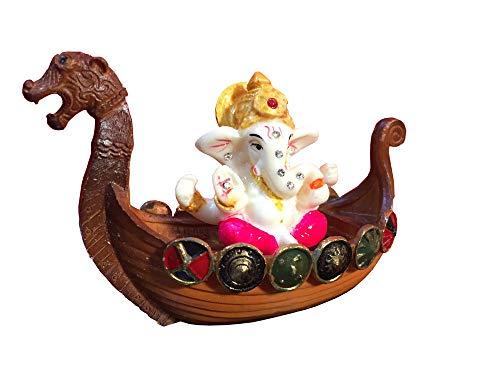 Satre Online And Marketing Ganesha Statue Seating in Duck/Small Ganesha Statue/Mini Lord Ganesh/Ganpati Polyresin Idol