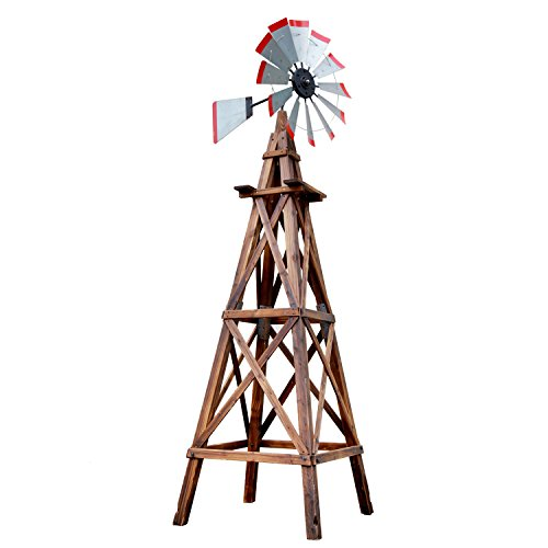 Songsen Outdoor Wood 9FT Torched Wooden Windmill (Windmill Wooden)