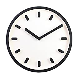 JustNile 3D Modern Contemporary Solid Color Wall Clock - 12 Round Black