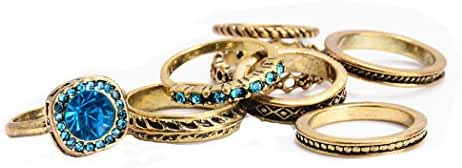 SUNSCSC Vintage Retro Leaf Circle Joint Knuckle Nail Ring Set of 8 Loop Crystal Rings