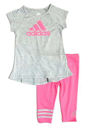 Price comparison product image adidas Toddler Girls 2pc Athletic Shirt and Leggings Set, Pink/Grey, 2T (2T, Grey/Pink)