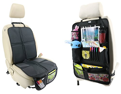 Car Seat Protectors Bundled with 12 Pocket Back Seat Organizer Made of Durable, Waterproof and Easy to Clean Fabric