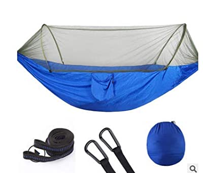 YOOMO Camping Hammock with Mosquito Net & Tree Straps Lightweight Parachute Fabric Travel Bed for Hiking, Backpacking, Backyard?Fitting Two Adults?Holds up to 600 pounds.