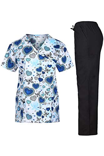 - MEDPRO Women's Printed Medical Scrub Set Mock Wrap Top and Pants Blue Black XS