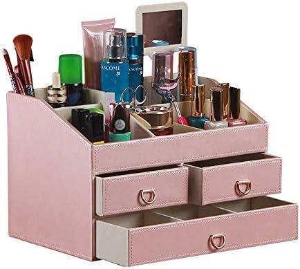 ミラーレザー化粧品ケース高品質ドレッシングテーブルレザー引き出し化粧品ケース収納仕上げボックス