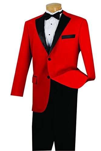 (Vinci 2 Button Single Breasted Classic Fit Tuxedo With Black Lapel T-2FF-Red-54R)