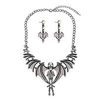 Zhenhui Halloween Vintage Austrian Crystal Ghost Claw Skeleton Skull Shaped Statement Necklace Drop Earrings Jewelry Set for Women