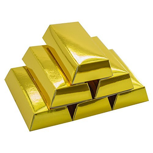 Super Z Outlet Western Casino Pirate Foil Gold Bar Treasure Boxes Party Supplies for Birthday Favors Decoration, Candy, Goodie Bags, Treats, Children Toys Gifts, Arts & Crafts (12 Pack)