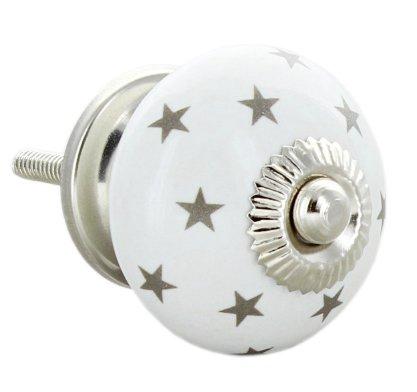 Tirador de puerta redondo de cerámica, diseño de estrellas ...