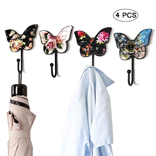 Sulida Butterfly Design Wall Hook - Vintage Hook for Hangers, Hats, Scarves and Keys, 4PCS (# Flowers)