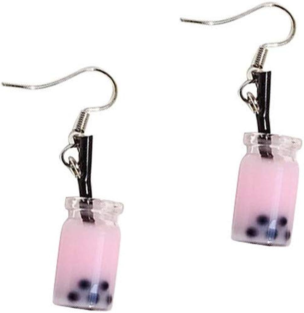 Cute Pearl Milk Tea Dangle Earrings Colorfurl Glass Bottle Funny Earrings for Women Girls