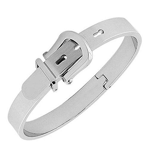 Stainless Steel Adjustable Belt Buckle Bracelets Bangle for Men/Women (White Silver)