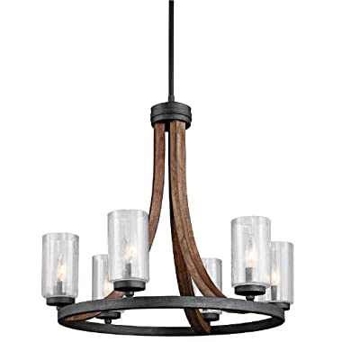 43193AUB Grand Bank 6LT Chandelier, Auburn Stained Finish with Clear Seedy Glass Shades
