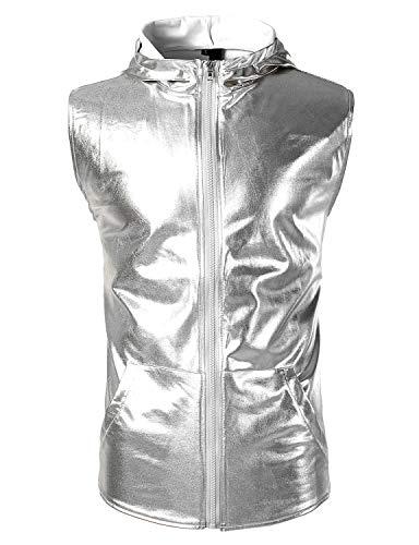 (ZEROYAA Men's Metallic Hipster Zip Up Hooded Vest T Shirt with Kangaroo Pocket Z106 Silver Small)