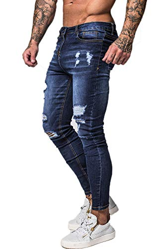 Stretch Length Jeans - GINGTTO Mens Skinny Jeans Stretch Plus Size Ripped Jeans for Men Slim Fit Navy Blue 36