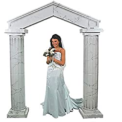 Fun Express Cardboard Marble Look Fluted Archway With Columns Wedding Decoration Entryway