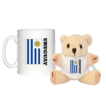 """Diseño de bandera de Uruguay taza y 5 """"oso de peluche con a juego"""