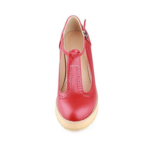 VogueZone009 Womens Closed Toe Round Toe Kitten Heels PU Soft Material Solid Pumps with Chunky Heels, Red, 2.5 UK