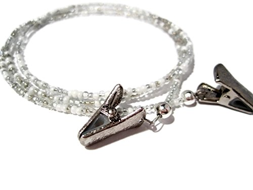 ATLanyards White and Silver Clip Eyeglass Holder - White and Silver Beaded Clip Eyeglass Chain (Silver Beaded Eyeglass)